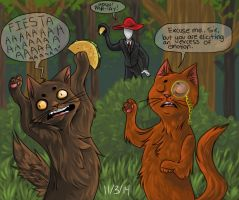 2 cats have a rad party with tacos and slenderman by PinestarsMinion777