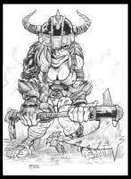 LITTLE dwarf GIRL WITH AXE final by zzpoil