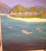 tropical island with dolphins by Liviy22