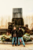 In front of monument at Birkenau Poland by vzzzbux