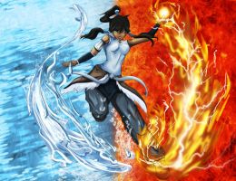 Korra water and fire bending by IcysisDee