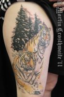 Tigers Trees tattoo by mxw8