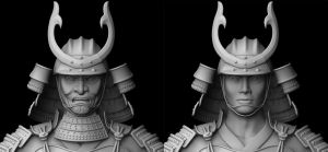 Samurai face-mask detail by Silesky