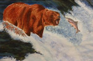 Watercolor: Grizzly Bear by spilledpaint88