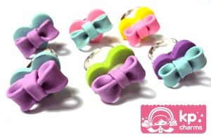 heart ribbon rings by KPcharms