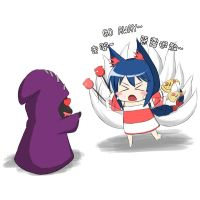 Ahri VS Minion by tonnelee