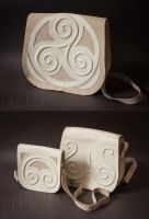 Leather bags with celtic ornament by GreatQueenLina