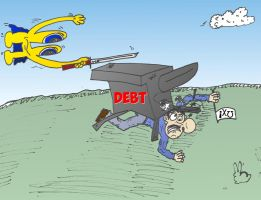 Euroman IMF Greek debt cartoon by optionsclickblogart
