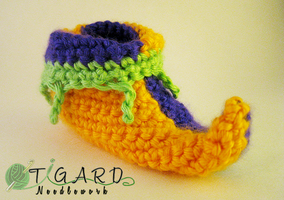 Jester Baby Booties by tigardneedlework