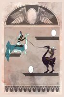 Joust Stele - Egyptian inspired Atari illustration by dancingheron