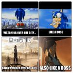 Korra and Sonic are both LIKE A BOSS by totoro10
