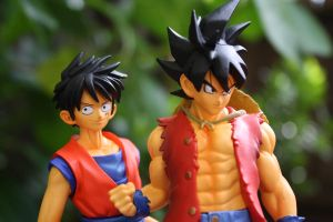 Goku and Luffy Cross Epoch by here-and-faraway