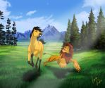 Two friends - Spirit and Simba by JR-Julia