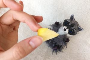 Tiny Raccoon Art Doll by Ermellin