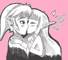 LINK AND ZELDA KISS FOR VALENTINE'S DAY by spenzbowart