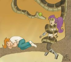 Kaa wrapping Leela by Aeviking