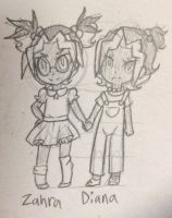 Child Zahra and Diana Sketch by LiveWireGoth