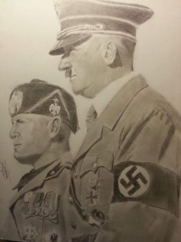 Hitler and Mussolini by NewbieDrawings