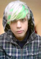 Green and White Hair. by PirateBoyo