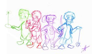 Teen Ducks-sketch by DisneyFan-01