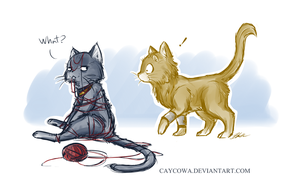 Lokitty and Thor, God of Thunpurr in A good yarn by caycowa