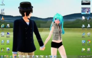 My desktop background- Japan and Itami a nice walk by YukiAtem12