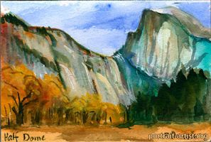 Half Dome Yosemite Watercolor painted from life by bearsclover