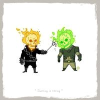 Little Friends - Ghost Rider and Atomic Skull by darrenrawlings