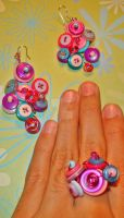 Button clusters set by colourful-blossom