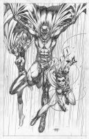 Batman, Robin, Batgirl by edtadeo