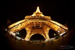 Eiffel Tower Fisheye by Night by gdphotography