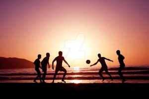 Footballers at Sunset by Spanishalex