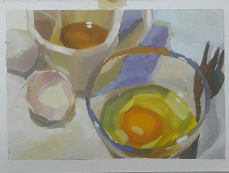 Eggs , tea , egg shells and a fork  by HellaHappy3