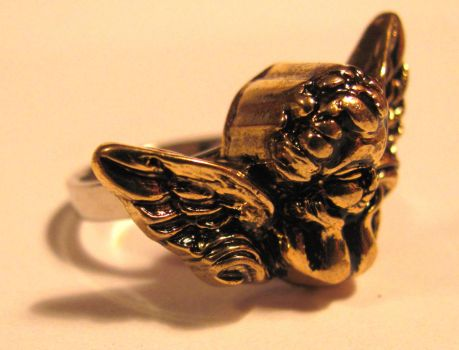 Angel Button Ring by TNBCCBARTIST247