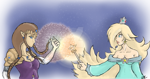 Princess Zelda VS Princess Rosalina by 3Dogz
