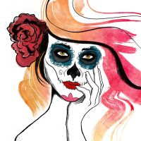 Autumn Sugar Skull Girl by brandtcampbell