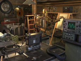 crazy scientist's garage by damart3d