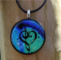 Bl Mix Music Love Fused Glass by FusedElegance