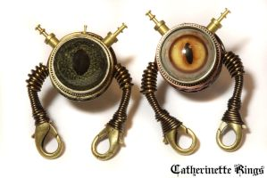 Steampunk Robot Pins by CatherinetteRings