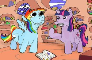 rainbow dash and twilight are talking about books by applebeans