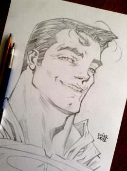 SUPERMAN headshot pencils2 by rogercruz