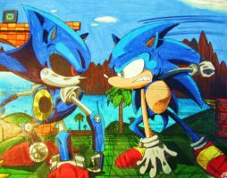Sonic vs Mecha Sonic by Sugashane09