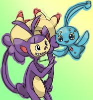 Ambipom and Manaphy