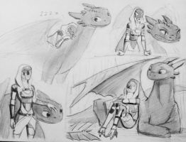 Skecthes Tali/Toothless (5) by spaceMAXmarine