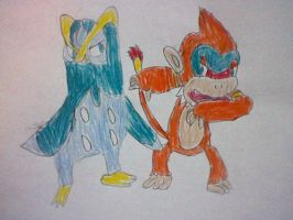 Prinplup and Monferno by nintendolover2010