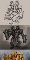 Mecha warrior progression by WackoShirow