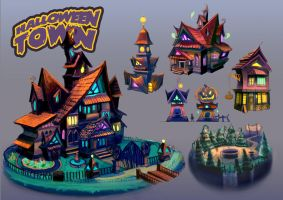 Halloween Town Buildings by anacathie