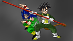 (blue haired) Sano and Toka by InstinctShadowSaiyan