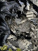 Godzilla 2001 v. Angilas by RichardCox