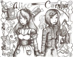 Alice and Coraline by MESS-Anime-Artist